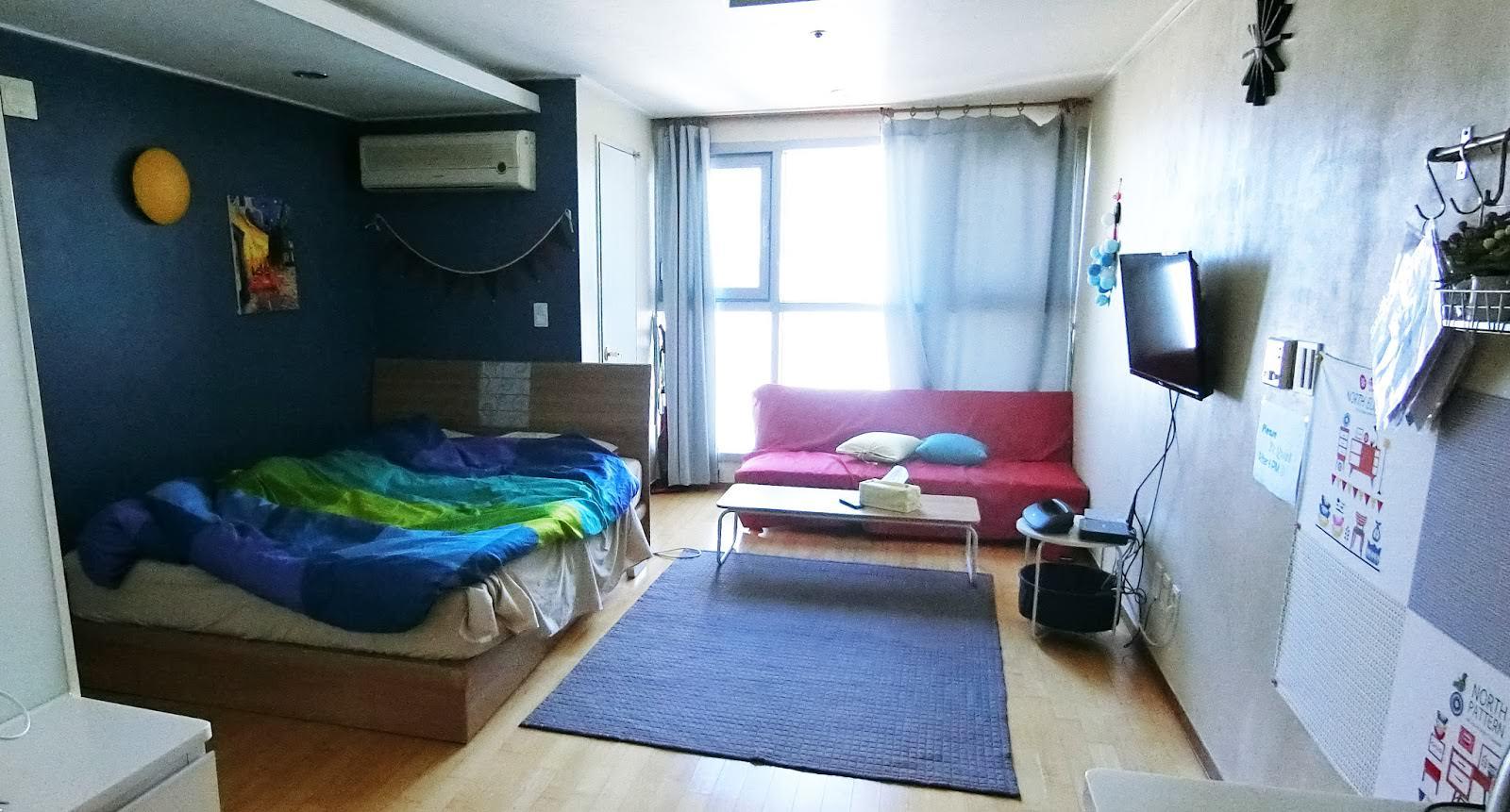 釜山住宿 鄰近西面、釜岩站的兩人民宿Airbnb,廚房、便利商店、舒適空間